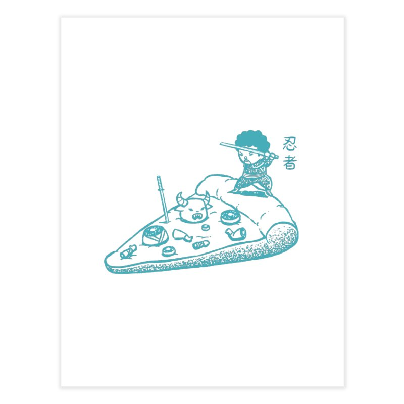 Ninja Pizza Home Fine Art Print by Flying Mouse365