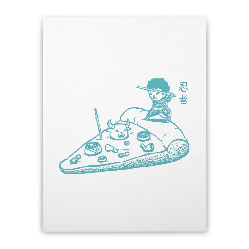 Ninja Pizza Home Stretched Canvas by Flying Mouse365