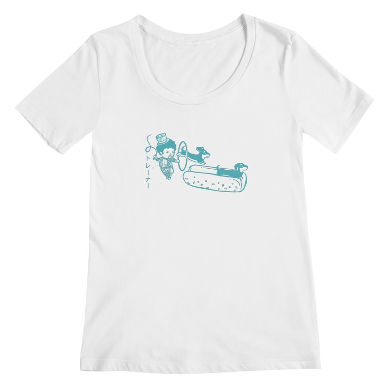 Hot Dog Trainer Women's Scoopneck by Flying Mouse365