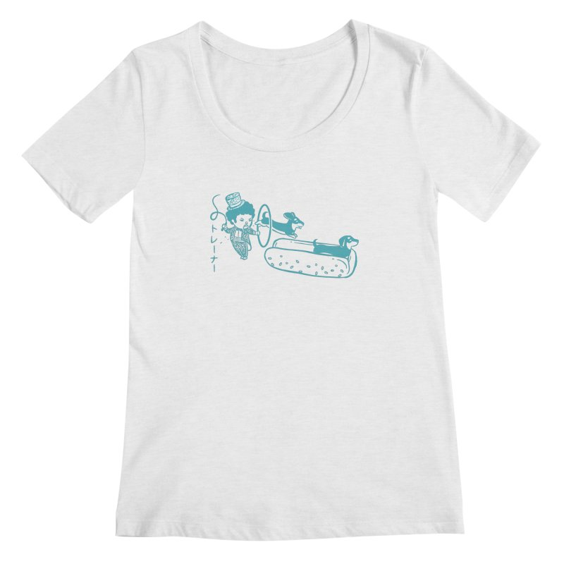 Hot Dog Trainer Women's Regular Scoop Neck by Flying Mouse365
