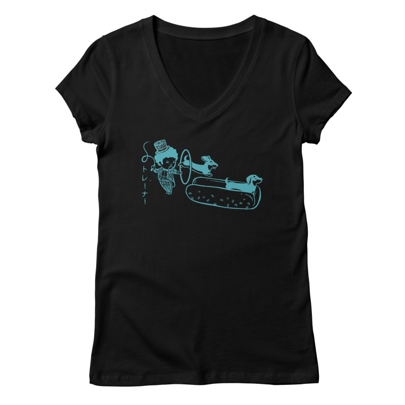 Hot Dog Trainer Women's V-Neck by Flying Mouse365