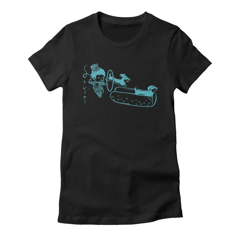 Hot Dog Trainer Women's Fitted T-Shirt by Flying Mouse365