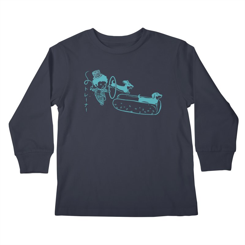 Hot Dog Trainer Kids Longsleeve T-Shirt by Flying Mouse365