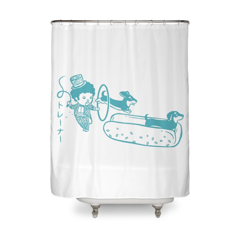 Hot Dog Trainer Home Shower Curtain by Flying Mouse365