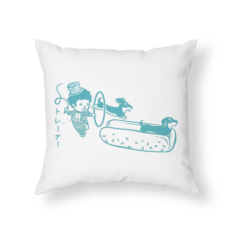 Hot Dog Trainer Home Throw Pillow by Flying Mouse365
