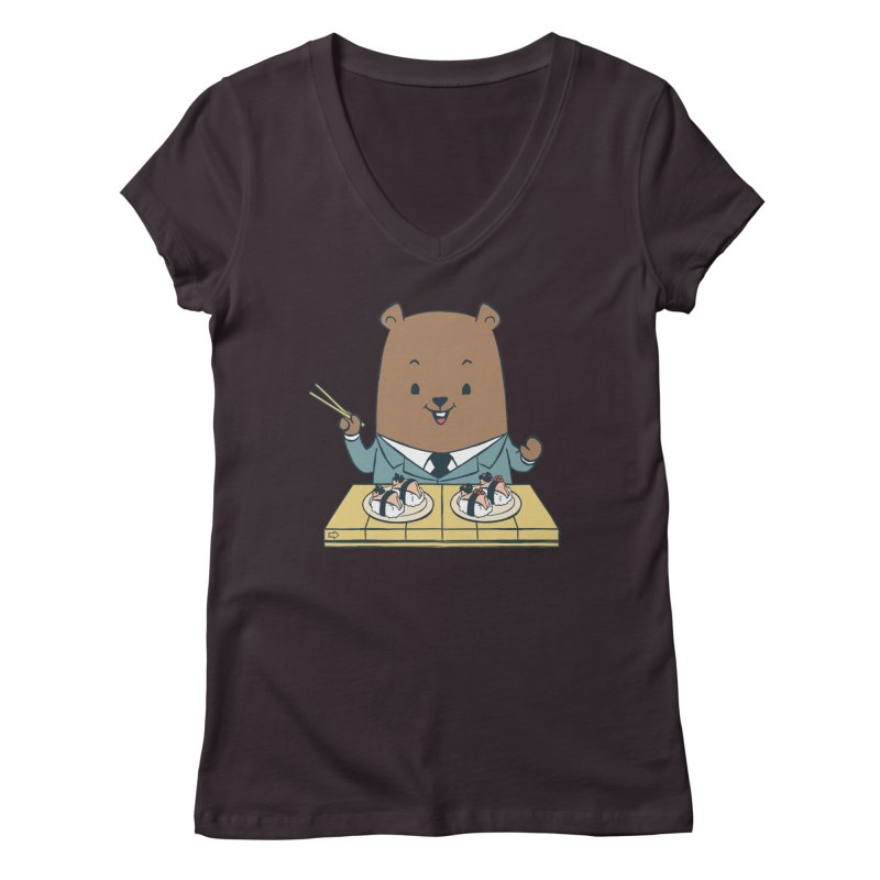 EDDIE TEDDY - Sushi Lover Women's V-Neck by Flying Mouse365