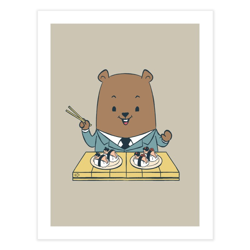 EDDIE TEDDY - Sushi Lover Home Fine Art Print by Flying Mouse365