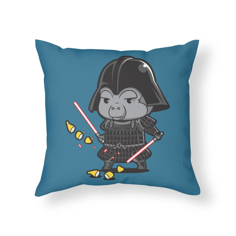 Samurai Dark Home Throw Pillow by Flying Mouse365
