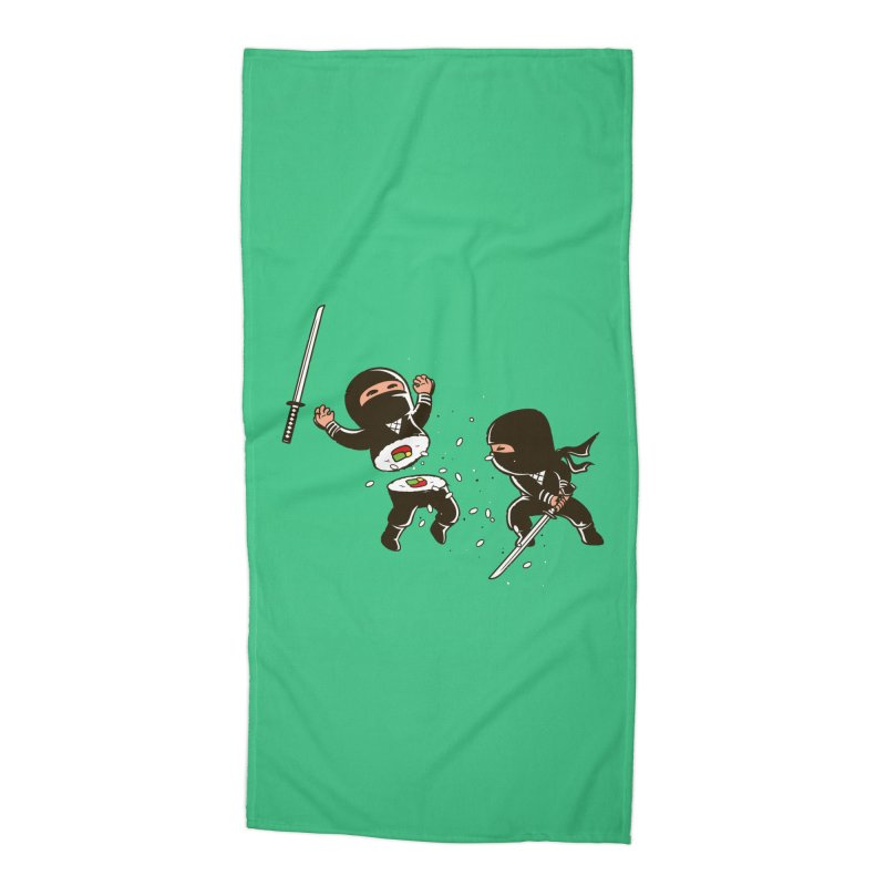 Sushi Ninja Accessories Beach Towel by Flying Mouse365