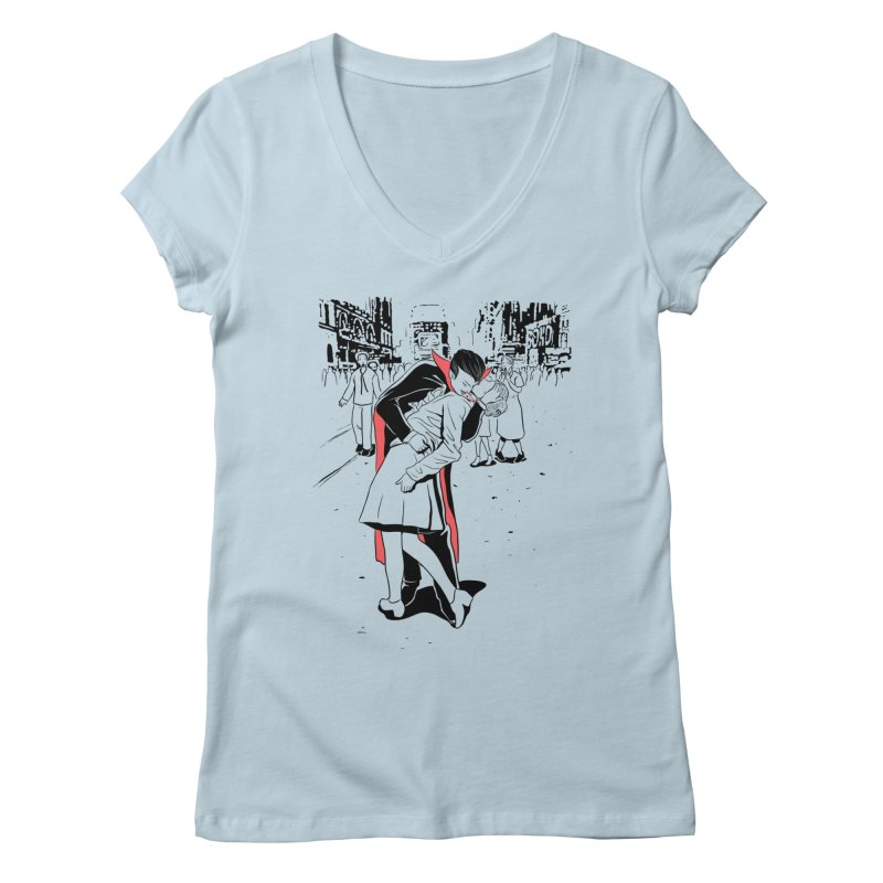 Time Square Bite Women's V-Neck by Flying Mouse365