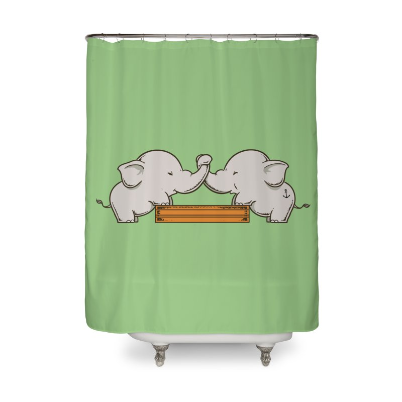 Trunk Wrestling Home Shower Curtain by Flying Mouse365