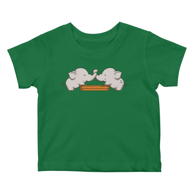 Trunk Wrestling Kids Baby T-Shirt by Flying Mouse365