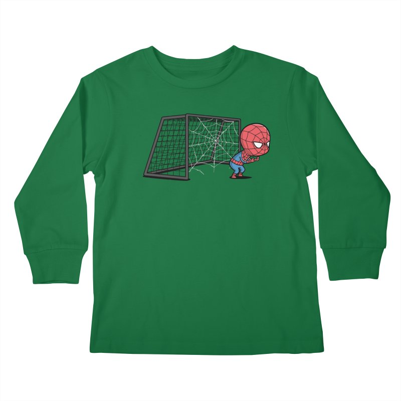 Sporty Spidey - Soccer Kids Longsleeve T-Shirt by Flying Mouse365