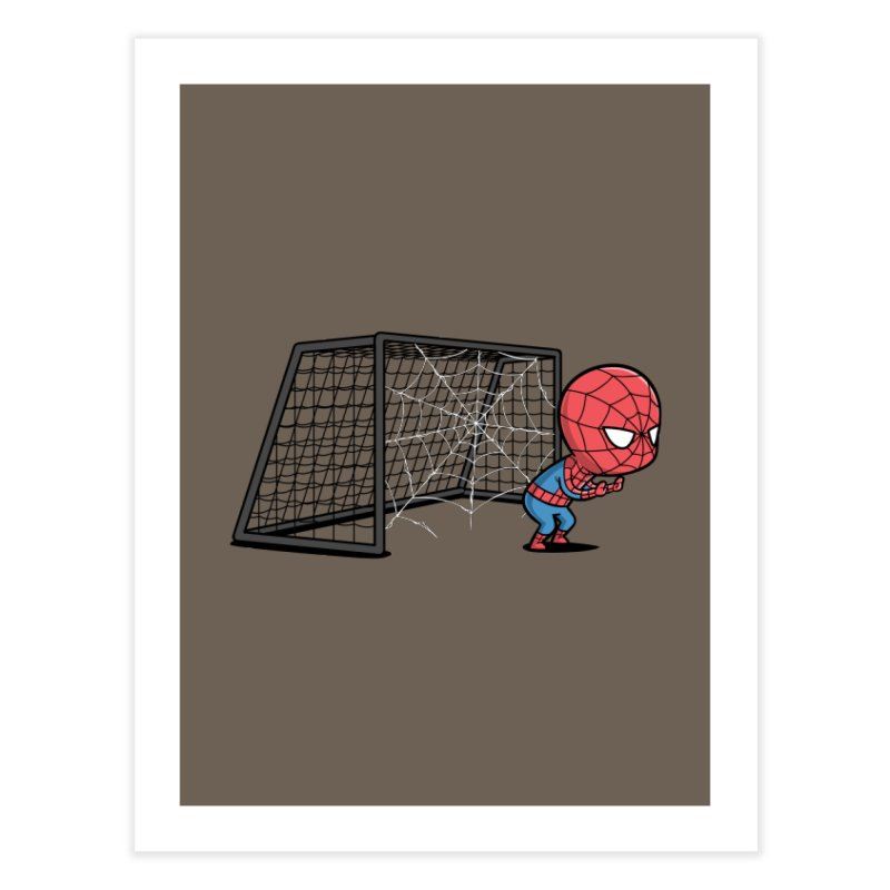 Sporty Spidey - Soccer Home Fine Art Print by Flying Mouse365