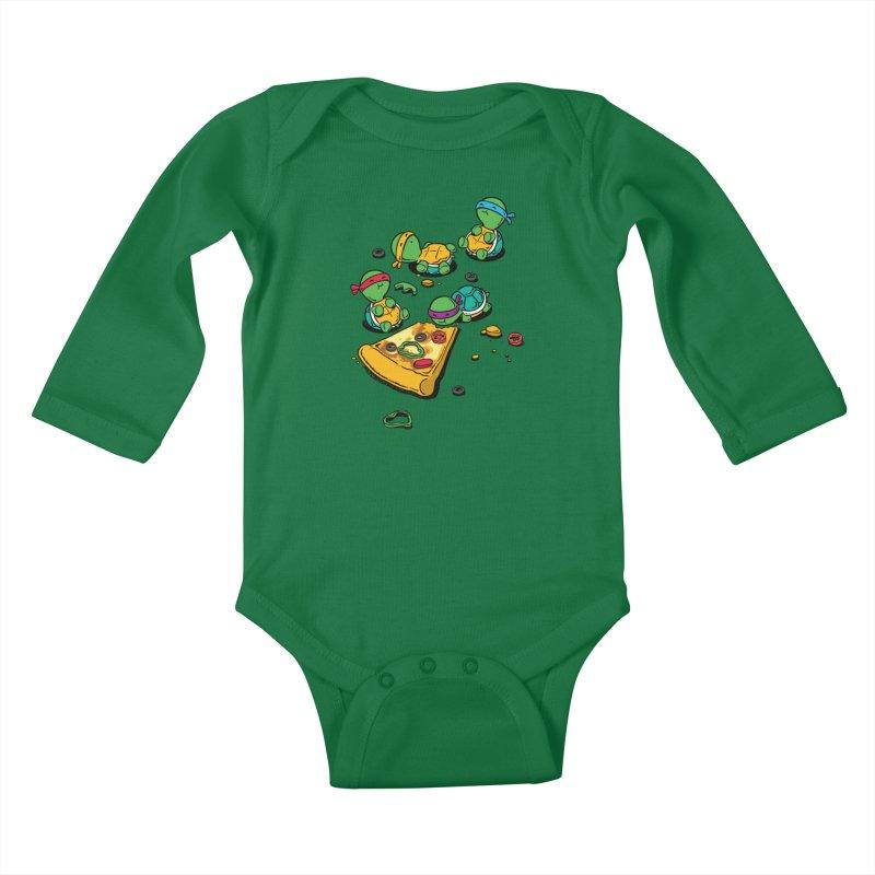 Pizza Lover Kids Baby Longsleeve Bodysuit by Flying Mouse365