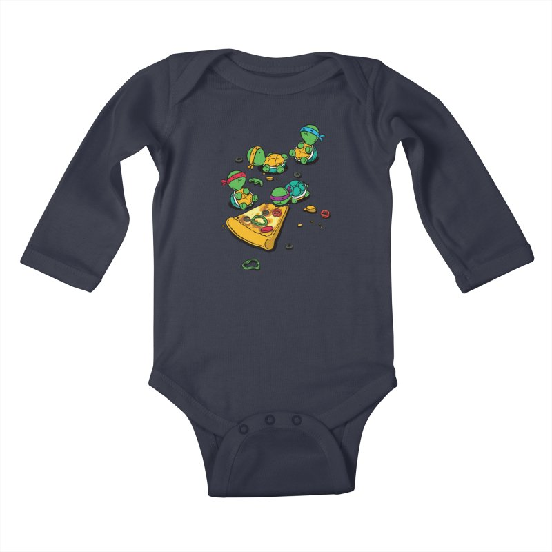 Pizza Lover Kids Baby Longsleeve Bodysuit by Flying Mouse365