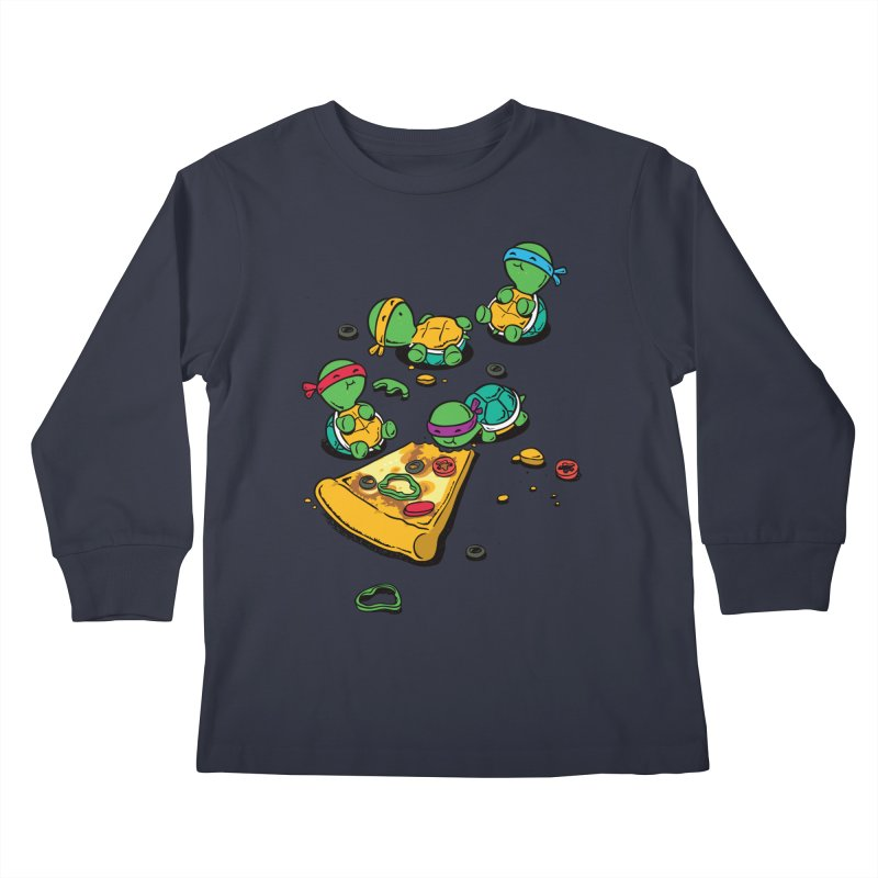 Pizza Lover Kids Longsleeve T-Shirt by Flying Mouse365