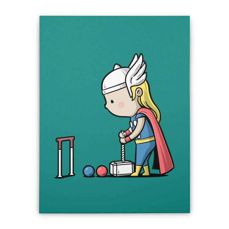Sporty Buddy - Croquet Home Stretched Canvas by Flying Mouse365