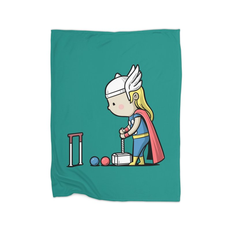 Sporty Buddy - Croquet Home Fleece Blanket by Flying Mouse365