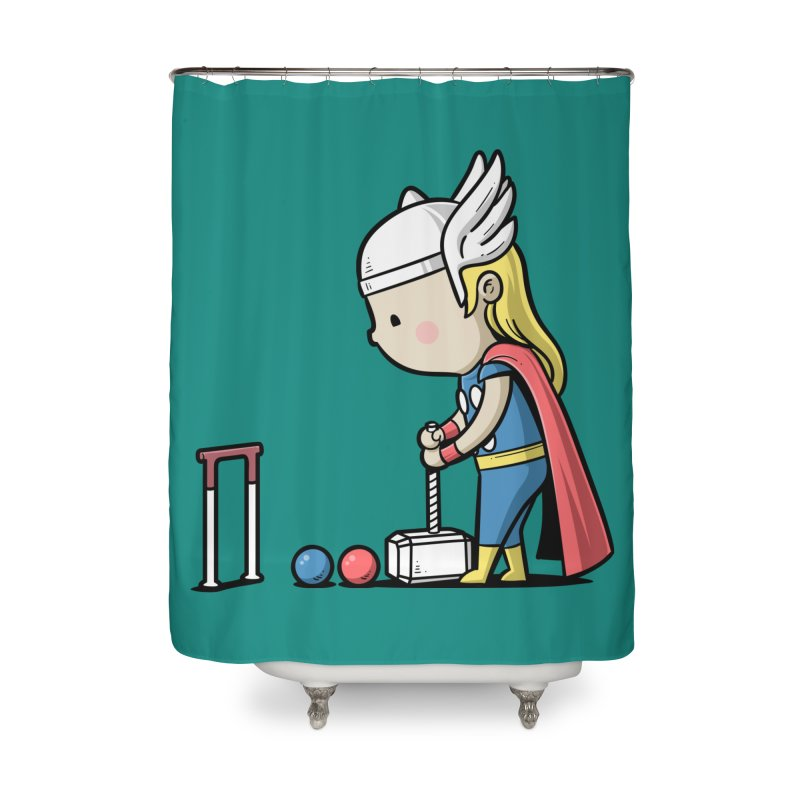 Sporty Buddy - Croquet Home Shower Curtain by Flying Mouse365