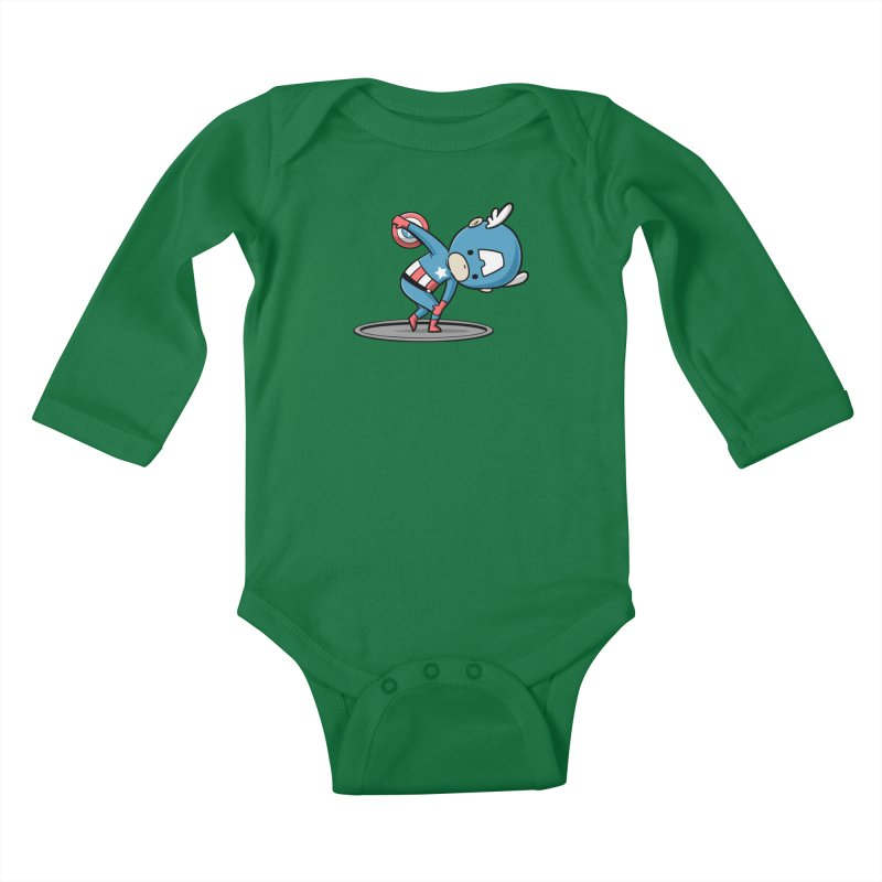 Sporty Buddy - Discus Throw Kids Baby Longsleeve Bodysuit by Flying Mouse365