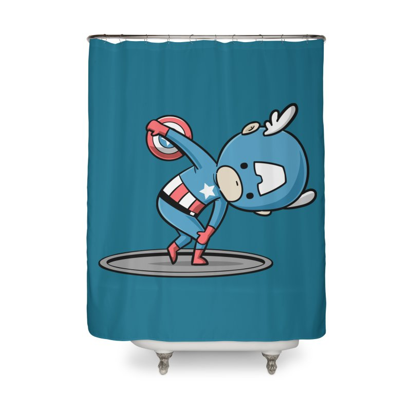 Sporty Buddy - Discus Throw Home Shower Curtain by Flying Mouse365