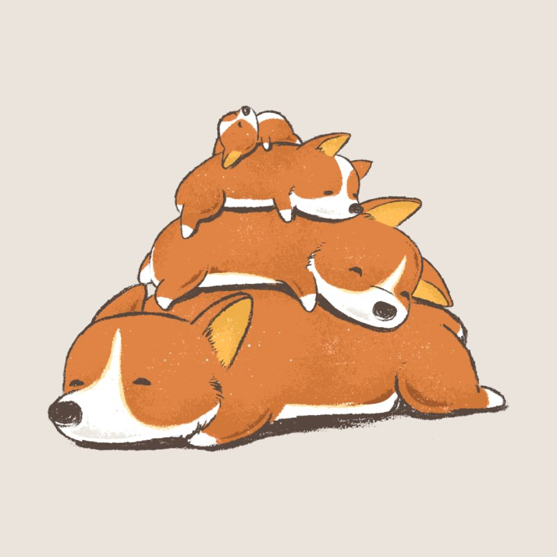 Comfy Bed - CORGI Home Stretched Canvas by Flying Mouse365