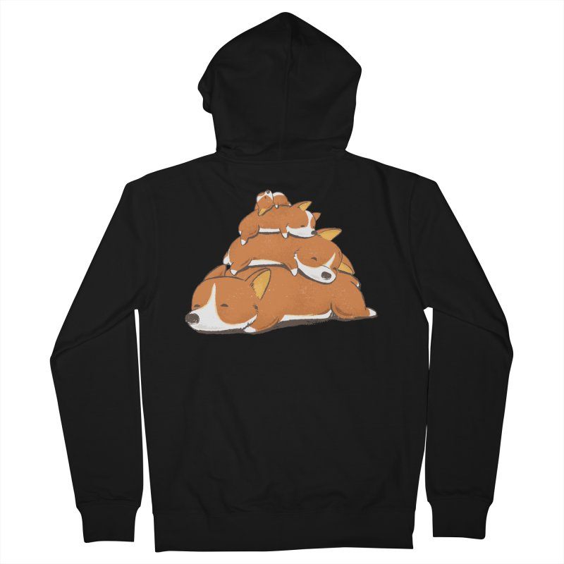 Comfy Bed - CORGI Women's French Terry Zip-Up Hoody by Flying Mouse365