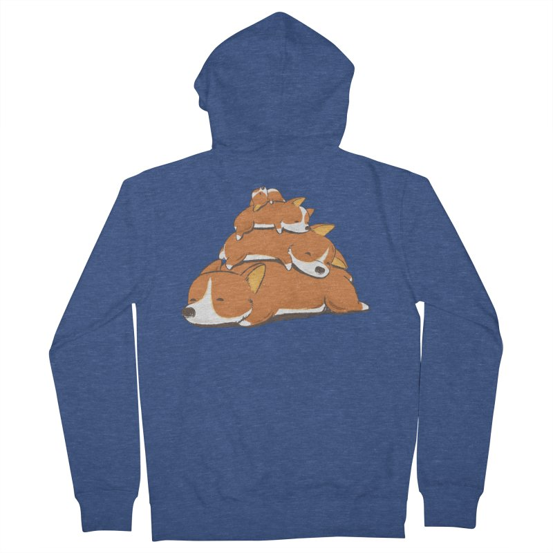 Comfy Bed - CORGI Men's French Terry Zip-Up Hoody by Flying Mouse365