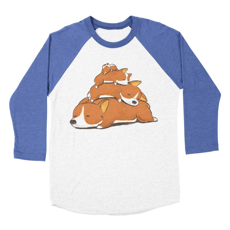 Comfy Bed - CORGI Women's Baseball Triblend Longsleeve T-Shirt by Flying Mouse365