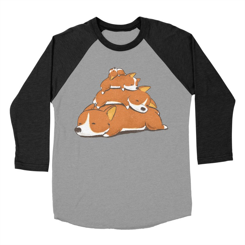 Comfy Bed - CORGI Women's Baseball Triblend Longsleeve T-Shirt by Flying Mouse365