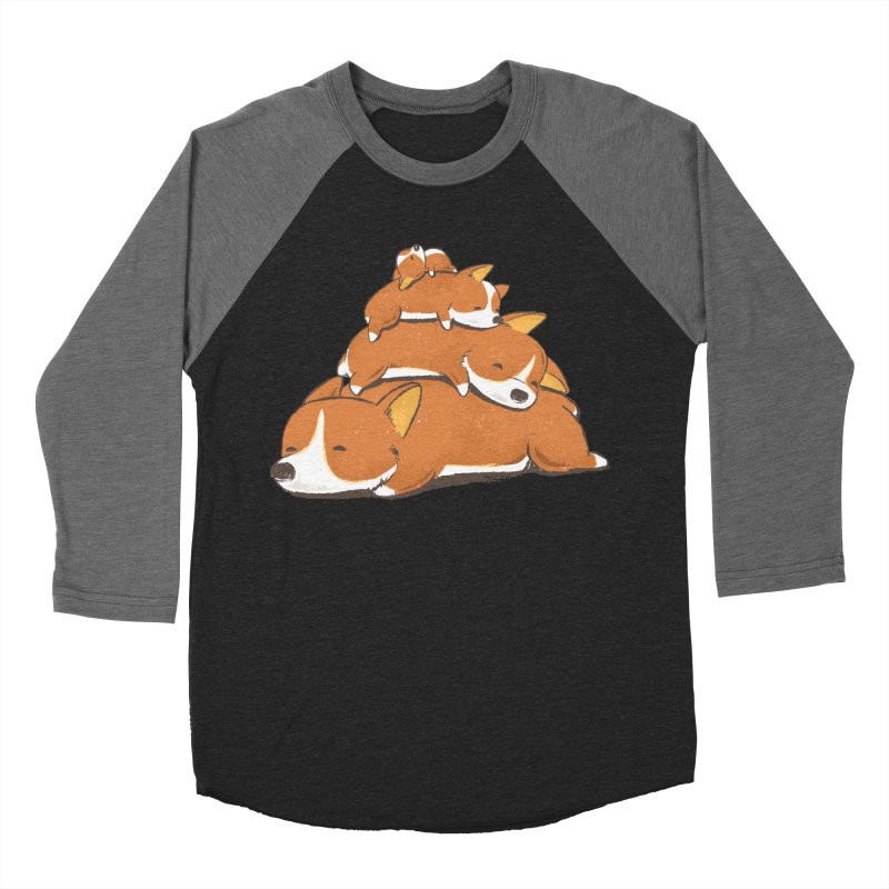 Comfy Bed - CORGI Men's Baseball Triblend Longsleeve T-Shirt by Flying Mouse365