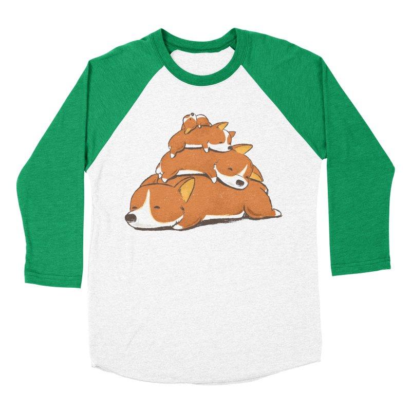 Comfy Bed - CORGI Men's Baseball Triblend Longsleeve T-Shirt by Flying Mouse365