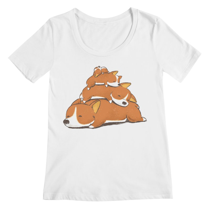 Comfy Bed - CORGI Women's Scoop Neck by Flying Mouse365