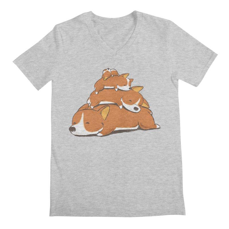 Comfy Bed - CORGI Men's V-Neck by Flying Mouse365