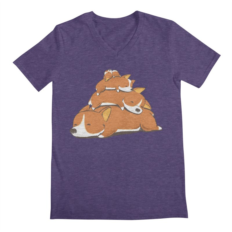 Comfy Bed - CORGI Men's V-Neck by Flying Mouse365