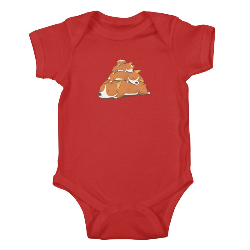 Comfy Bed - CORGI Kids Baby Bodysuit by Flying Mouse365