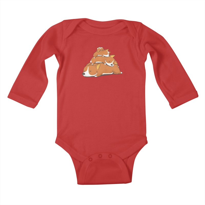 Comfy Bed - CORGI Kids Baby Longsleeve Bodysuit by Flying Mouse365