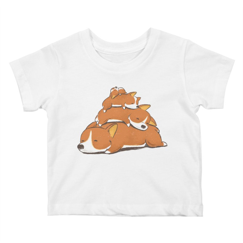 Comfy Bed - CORGI Kids Baby T-Shirt by Flying Mouse365
