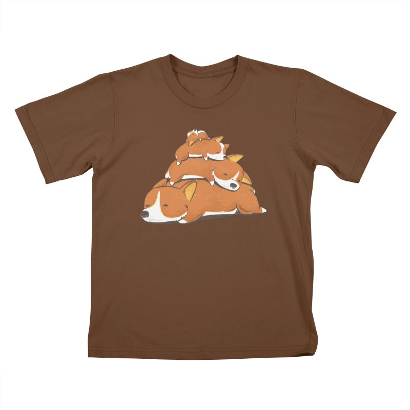 Comfy Bed - CORGI Kids T-shirt by Flying Mouse365
