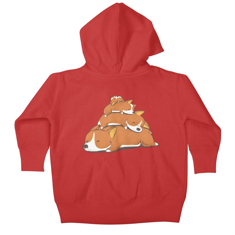 Comfy Bed - CORGI Kids Baby Zip-Up Hoody by Flying Mouse365