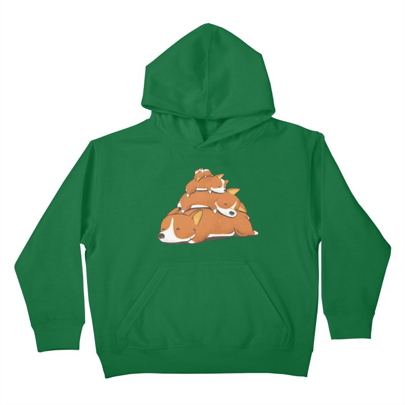 Comfy Bed - CORGI Kids Pullover Hoody by Flying Mouse365