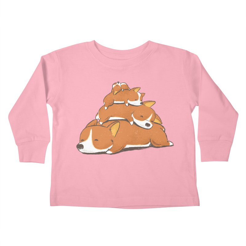 Comfy Bed - CORGI Kids Toddler Longsleeve T-Shirt by Flying Mouse365