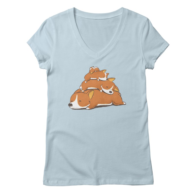 Comfy Bed - CORGI Women's V-Neck by Flying Mouse365
