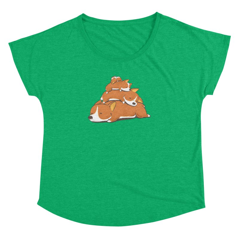 Comfy Bed - CORGI Women's Dolman Scoop Neck by Flying Mouse365