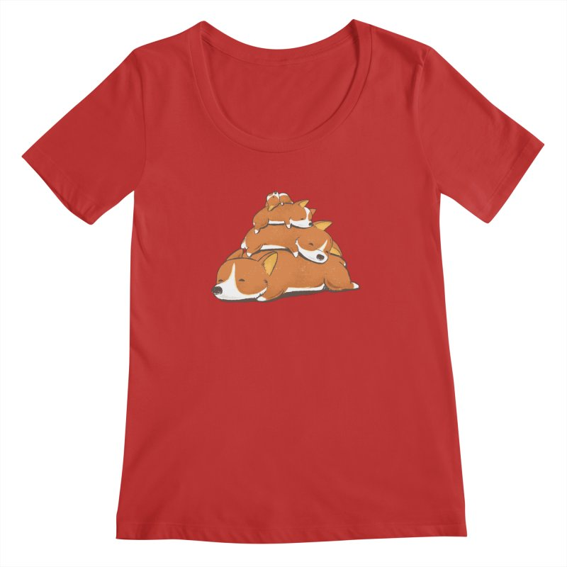 Comfy Bed - CORGI Women's Regular Scoop Neck by Flying Mouse365
