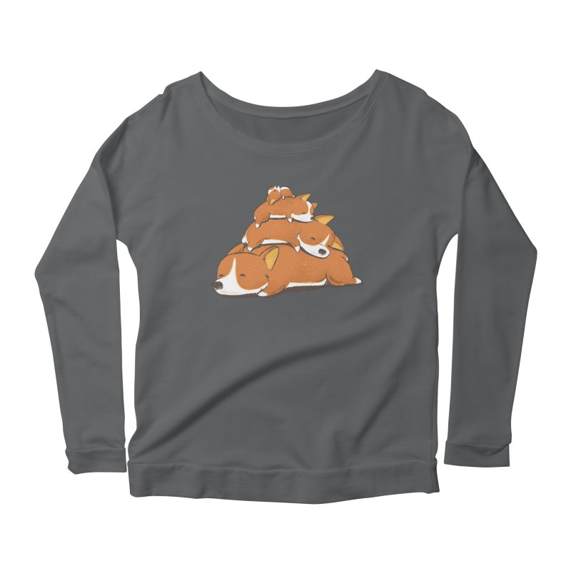 Comfy Bed - CORGI Women's Longsleeve Scoopneck  by Flying Mouse365