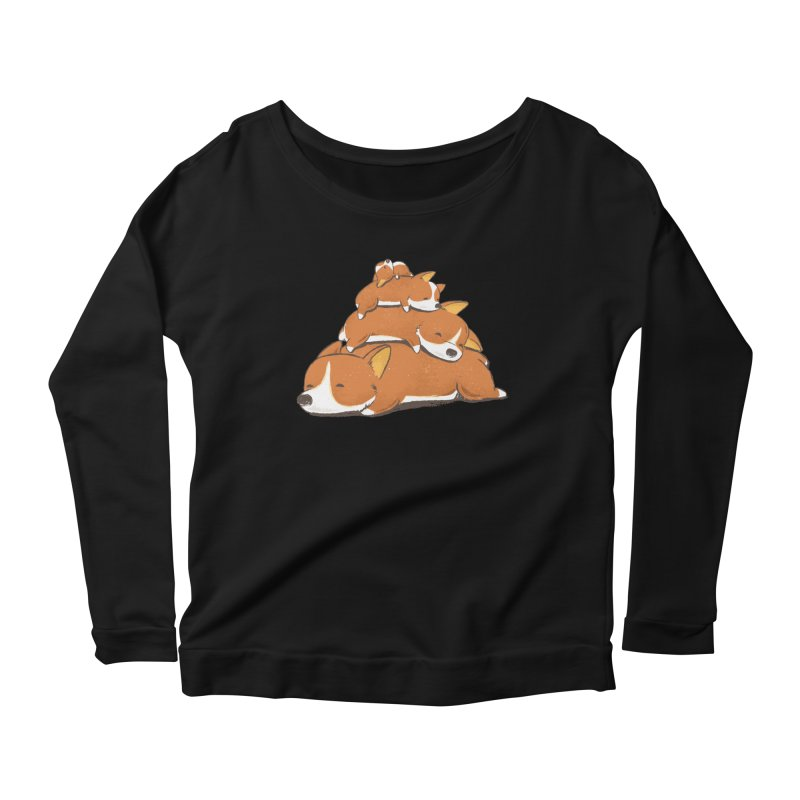 Comfy Bed - CORGI Women's Scoop Neck Longsleeve T-Shirt by Flying Mouse365