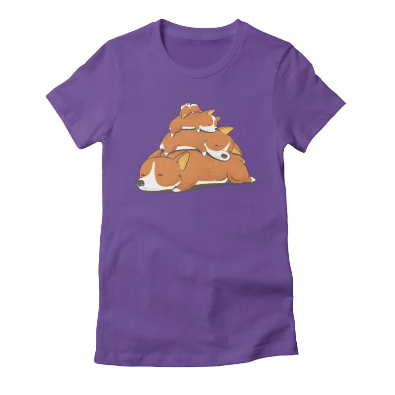 Comfy Bed - CORGI Women's Fitted T-Shirt by Flying Mouse365