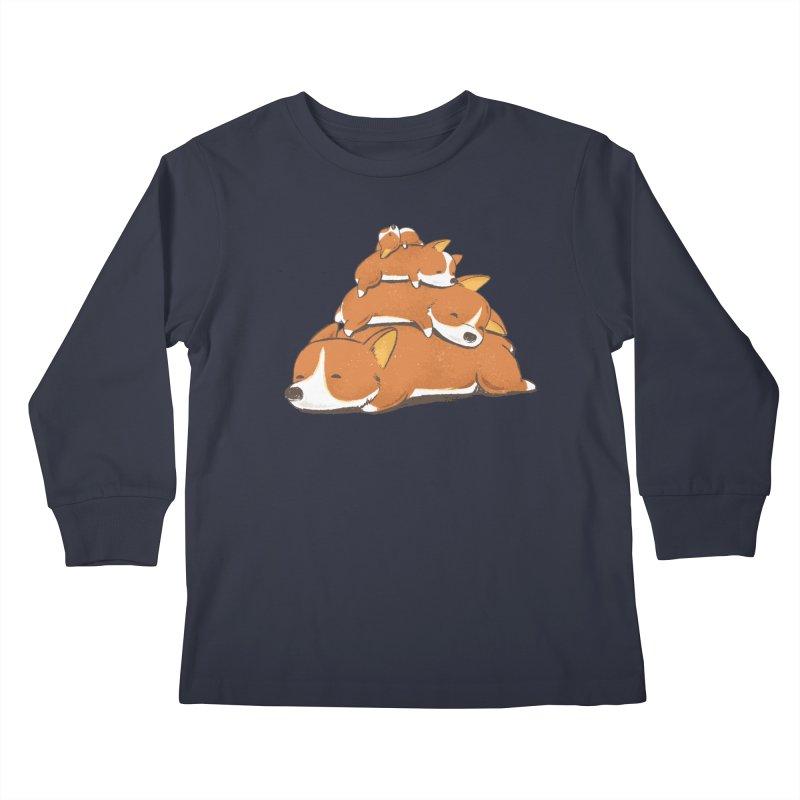 Comfy Bed - CORGI Kids Longsleeve T-Shirt by Flying Mouse365